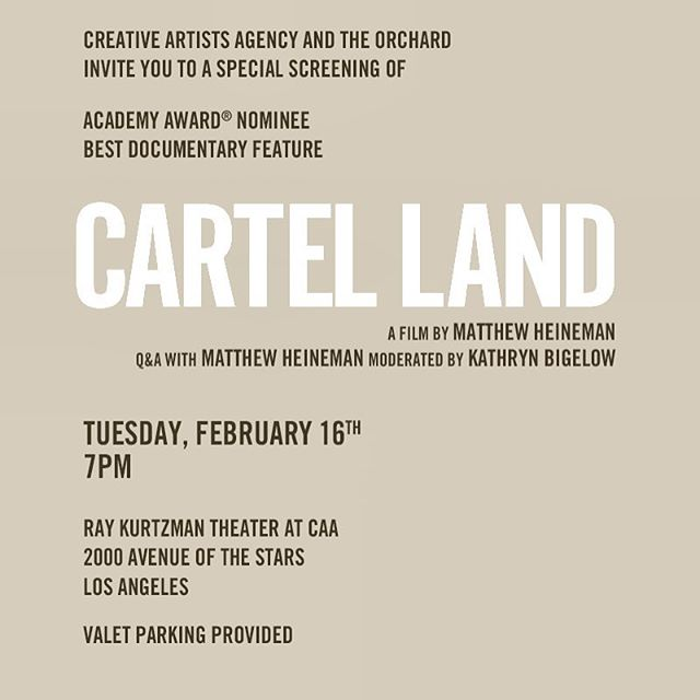 @cartellandmovie Is phenomenal. If you haven't seen it, you must, and, #KathrynBigelow is just stunningly beautiful! That is all. Thank you @womeninfilmla and #CAA for the invite! @benrosa