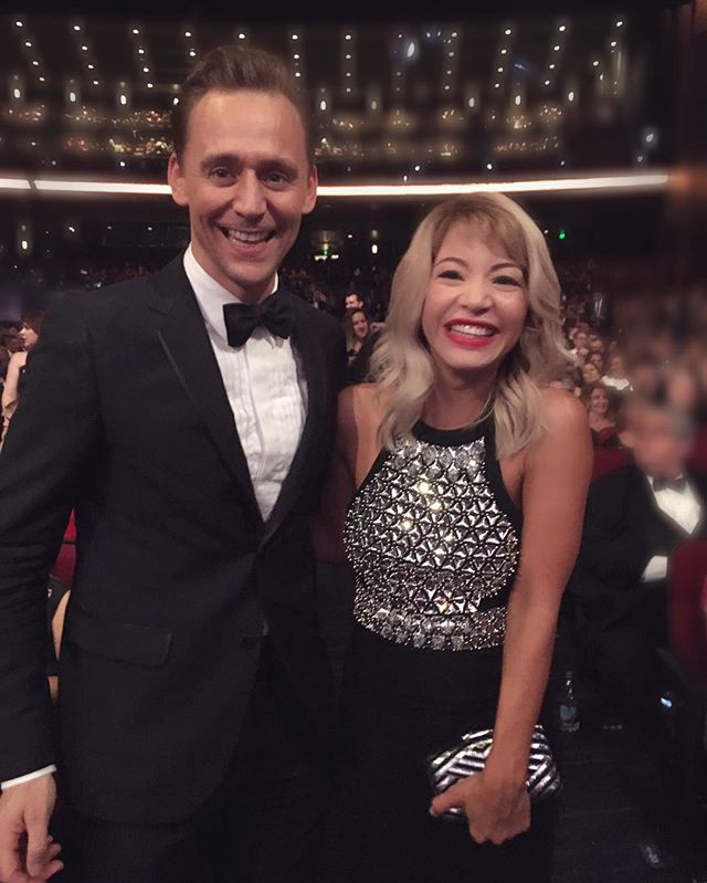 Does it look like we are having fun? It's cause we are! Both dresses in @Gucci head to toe! #actors #emmys #loki #thenightmanager #hollywood #LA #nightout #sundayfunday #instagood #instamood @lizrodriguezemr @emmys2016_ @twhiddleston