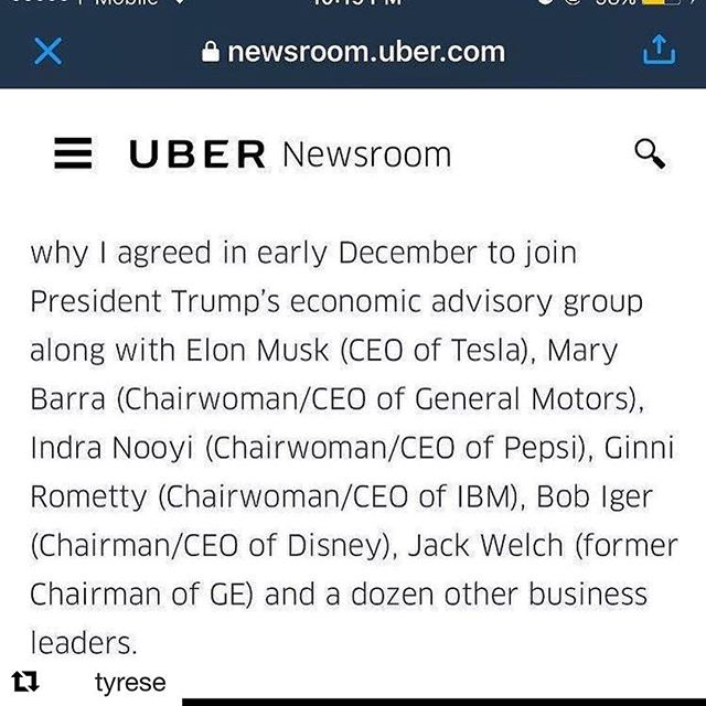 Guess he couldn't take the heat on his own and decided to out everyone. I'm not surprised all these fun Oks are also Trump supporters. What do you think? #Repost @tyrese ??? UBER CEO has been catching heat for being a trump supporter and decided to go public with a very private list of other CEO's who also are apart of trumps cabinet - What are your thoughts on this guys?