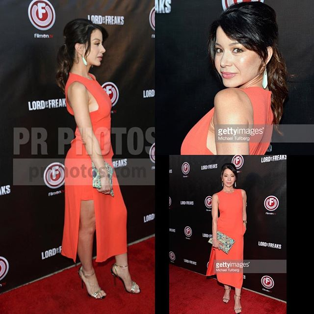 Last night at the #EgyptianTheatre for @AlkiDavid @Filmonlive #LordOfTheFreaks #redcarpet #premeire styled by @alejandroperazastyle @alc_ltd @intermixonline #coral #dress @alexisbittar #earrings @giuseppezanottiworld #gold #strappy #sandals #MUA #Hair @theresa_baca @deigalan @arpragency