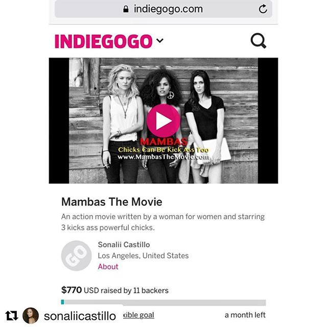 Please check out girl @sonaliicastillo @indiegogo campaign and help us reach out goal, for this #kickass film #mambasthemovie You won't want to his this one! Link in her bio. ? #actress #dominican #Caribbean #latinas #support #eomeninfilm #Repost @sonaliicastillo ??? Thank you to those that contributed last night to our @indiegogo campaign . We still have a long way to go and we just got started. We can do it guys. Please contribute to our campaign and share it with your friends and family alike and have them contribute. Any amount is greatly appreciated. Help us make a kick ass film! Link is on my bio and also here: . . . www.mambasthemovie.com . . Thank you so much! ?? . . #indiegogo #campaign #mambasthemovie #thankyou #film #filmmaking #actionmovie #latina #dominican #carribean #contribute #letsmakeamovie #kickass #women #womeninhollywood #kickstarter #fundraising #crowdsourcing