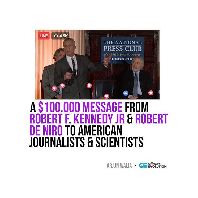 YES!! As if we need another reason to LOVE Robert De Niro!!! I wonder who will dare to prove that mercury in vaccines is safe. Let the games begin! #Repost @collective_evolution ??? Robert F. Kennedy Jr., Chairman of theWorld Mercury Project (WMP), announced a$100,000challenge today aimed at putting an end to including mercury, a neurotoxin that is 100 times more poisonous than lead, in vaccines administered in the U.S and globally. It's offered to anybody, includingjournalists and scientists, who can provide a study showing that it is safe to inject mercury into babies. This will be difficult, ashundreds of studies (that were also present at the press conference in print form) suggest that it isn't safe at all, and can significantlyincrease the risk of developing neurodegenerative disorders. Robert De Niro and numerous other peoplesupport the World Mercury Project, many of which made a historical appearance at the National Press Club today bringing attention to an issue that more people are becoming aware of every single year. For nearly 100 years, appropriate safety assessments (toxicity studies) have not been conducted for the administration of vaccines containing mercury as an adjuvant, yet we continue to give them to the general public. Government health authorities have been putting mercury (and aluminum) in vaccines based solely on the assumption that it is safe to do so. You can view the full press conference on theWorld Mercury Project Facebook Page. Sincevaccines have been perceived as non-toxic substances for decades, the Food and Drug Administration (FDA) has not attempted to provethe safety of this particular vaccine ingredient. Consideringbillions of dollars have been paid to families of children injured by vaccinations, it's fair to say that this is an alarming state of affairs, so it's about time thatthis press conference was held. Click the link in our bio to read the full article! #collectiveevolution #CE #CEarticle #ArjunWalia #vaccines #vaxx #mer